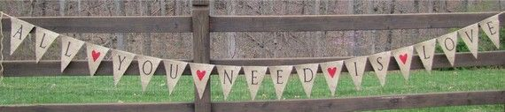 All You Need Is LoveGlittered Burlap Banner with by funkyshique, $48.00
