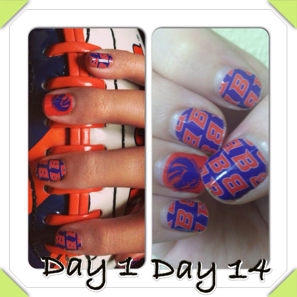 My Boise State Jamberry nails on day 1 and day 14. Long lasting, fun ...