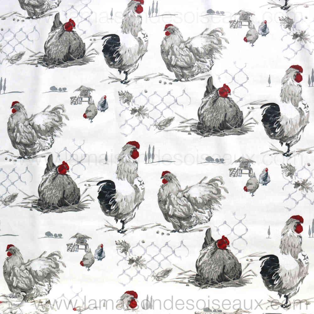 coton enduit motif poule et coq en 1 55 m de largeur stof do