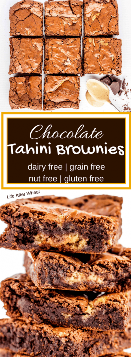 Tahini Brownies {gluten free} (flourless} {dairy free} | Life After Wheat