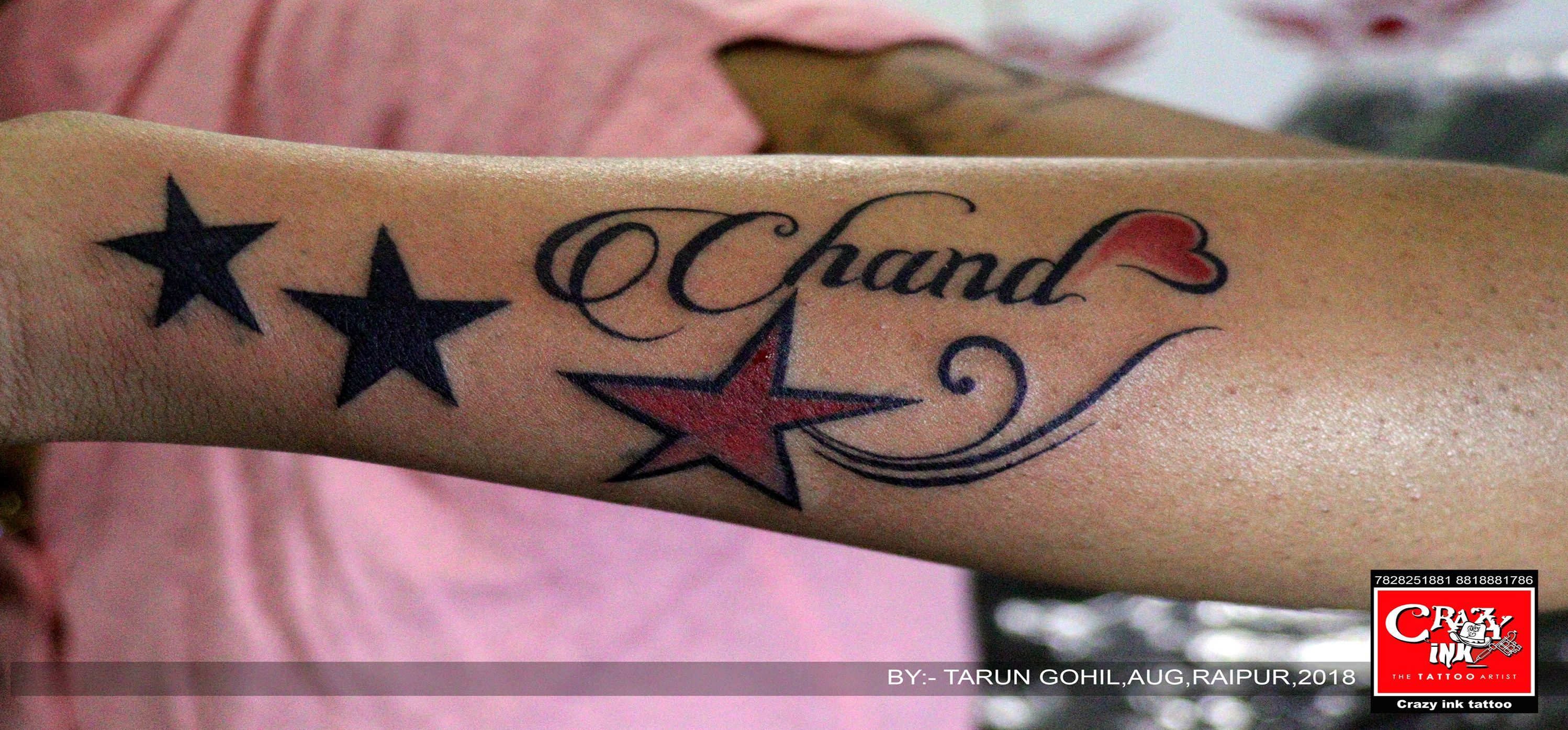 76d1aa84e5ff3 stars tattoo design with name tattoo done at crazy ink tattoo studio in  raipur. #starstattoo #nametatttoo #girltattoo #besttattoo #raipurartist ...