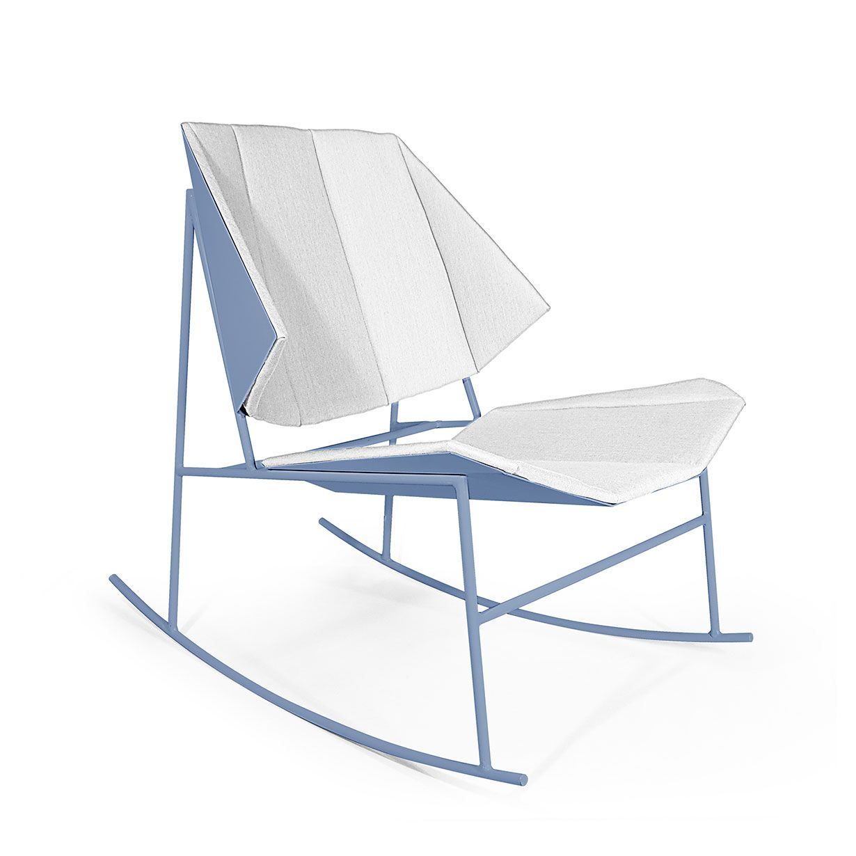 Terra rocking armchair by Atipico is made of zinc-plated metal, the back and the seat are made of fabric. www.lovethedesign.com