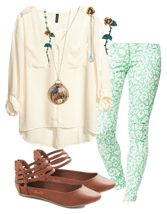 """""""Margaret inspired outfit with betsey Johnson earrings"""" by withfashionandblood ❤ liked on Polyvore featuring Old Navy, H&M and Betsey Johnson"""