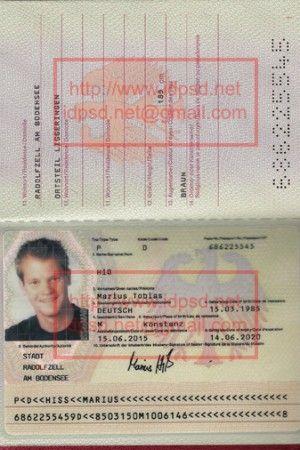 Template Germany Passport Psd Idpsd Passport Psd