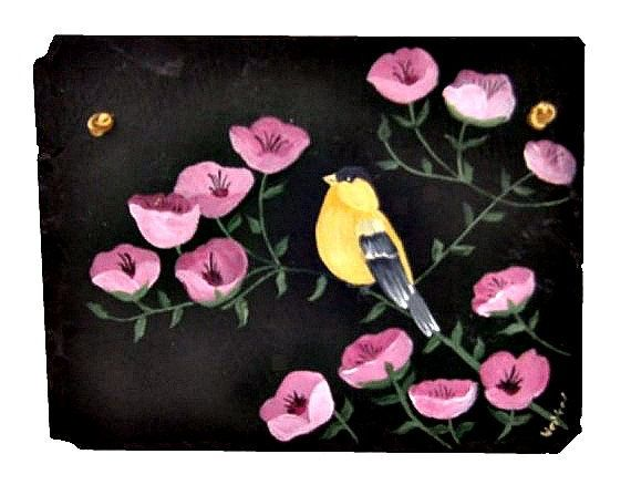 Painted Slate Gold Finch in Pink Poppies by WhatsInGrampasShack, $25.00 #dteam