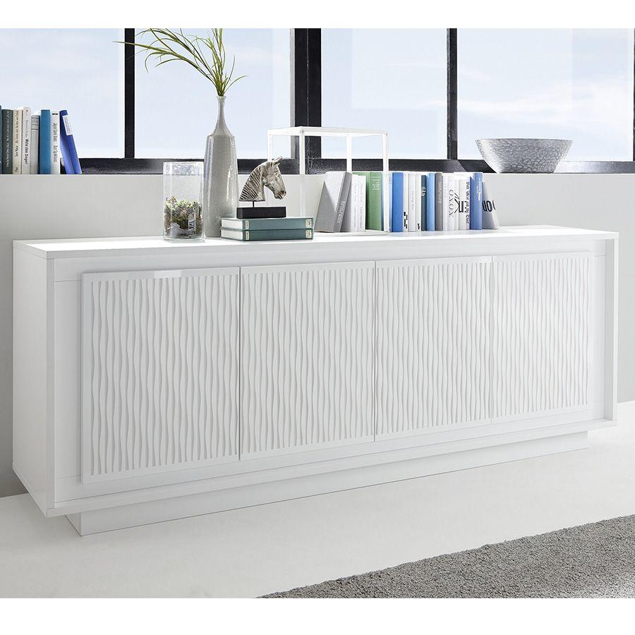 Bahut Blanc Laque Mat Avec Motifs Rayures Burton Modern