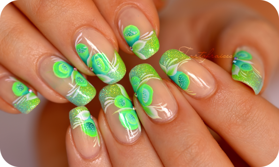 Nail art one stroke fluo french manucure paillette   My Style ...