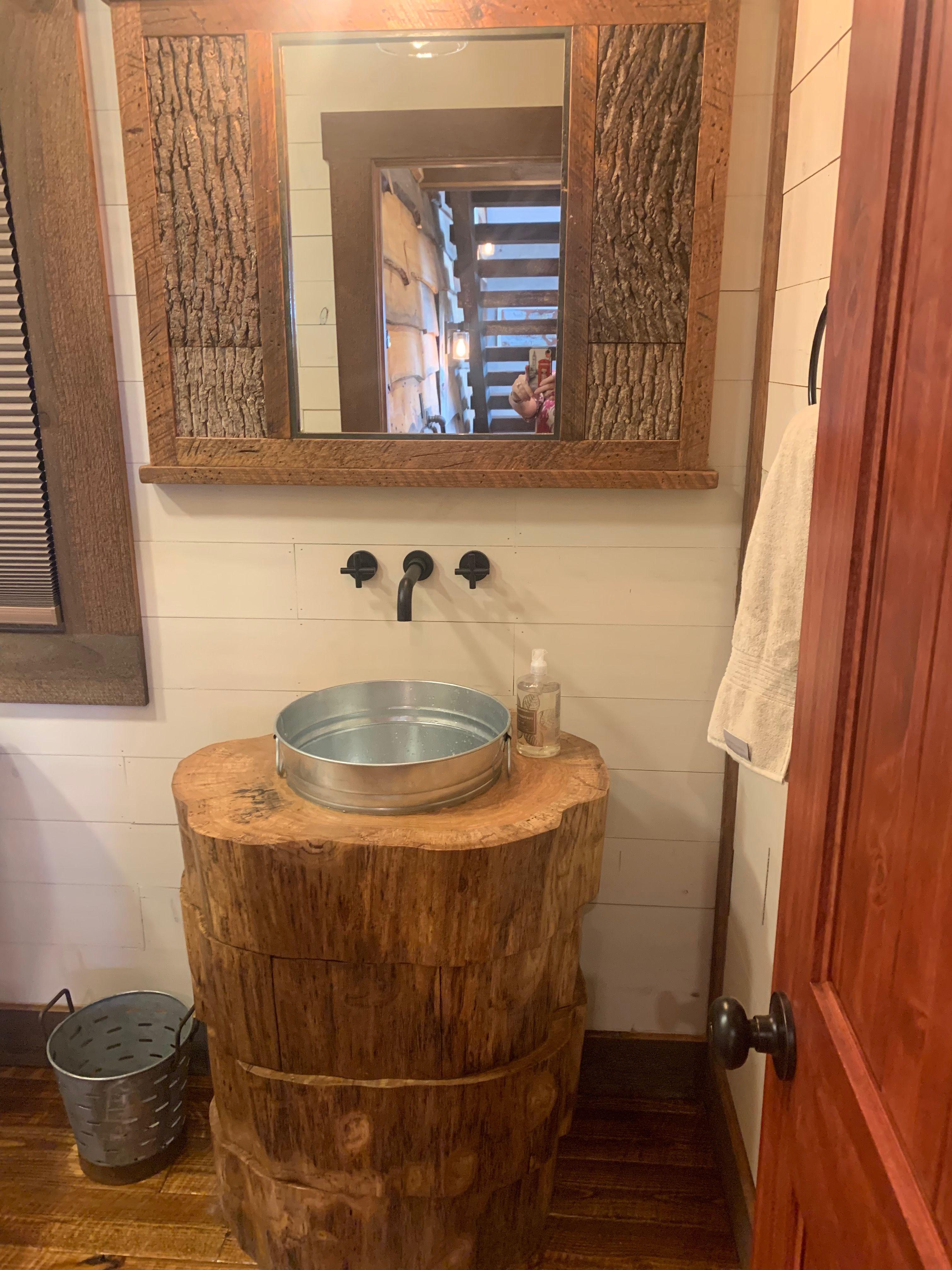 Log vanity Cabin decor, Vanity, Bathroom vanity