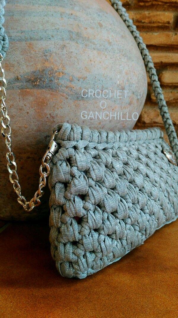 Crochet o ganchillo: BOLSO DE TRAPILLO ARGENT CON CADENA | Trapillo ...