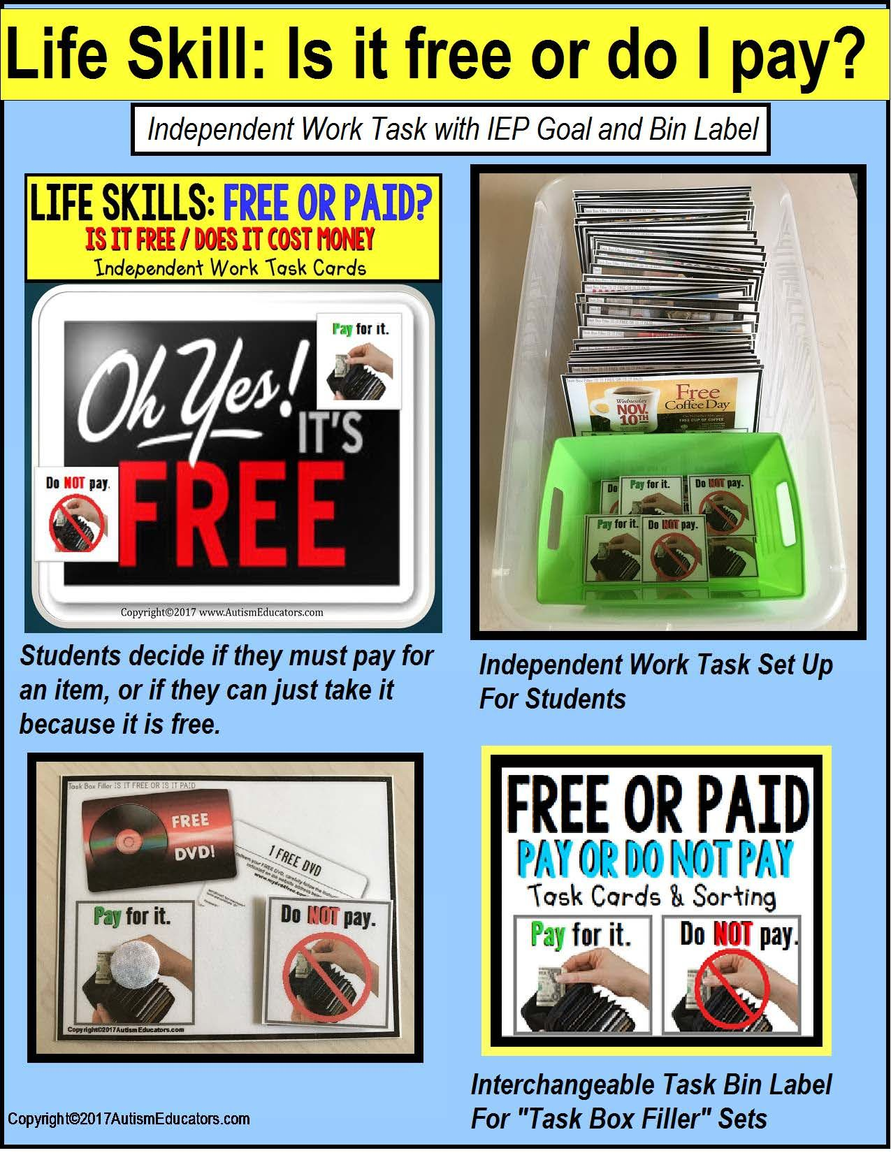Life Skills Task Cards Is It Free Or Do I Need To Pay