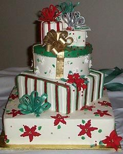 Four Tier Christmas Gift Box Wedding Cake Decorated With Ribbons Bows And