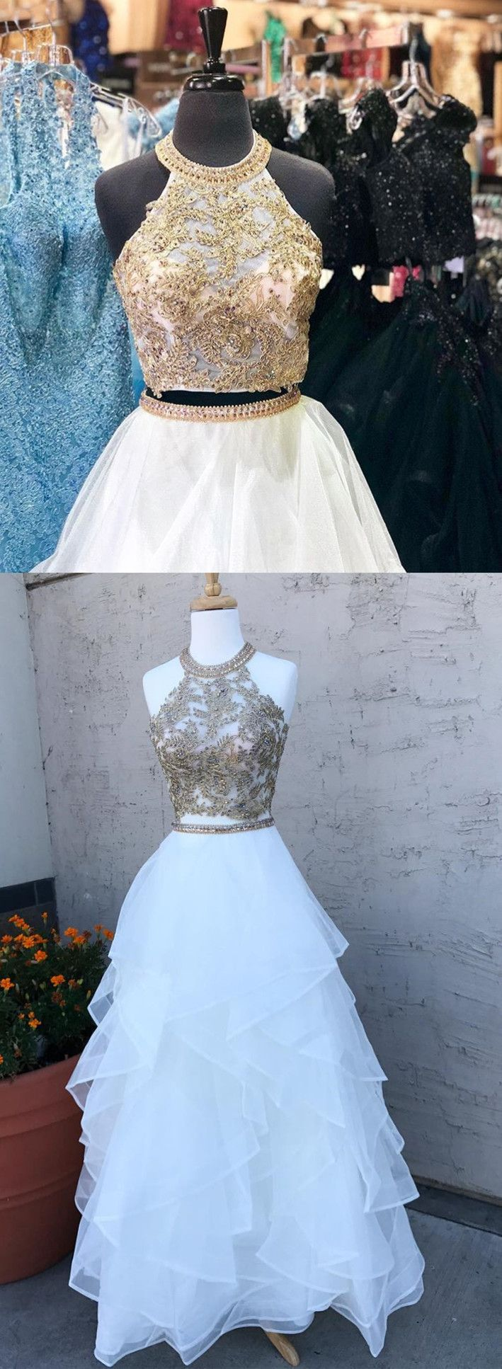 Two piece white long prom dress k gold sequins white long