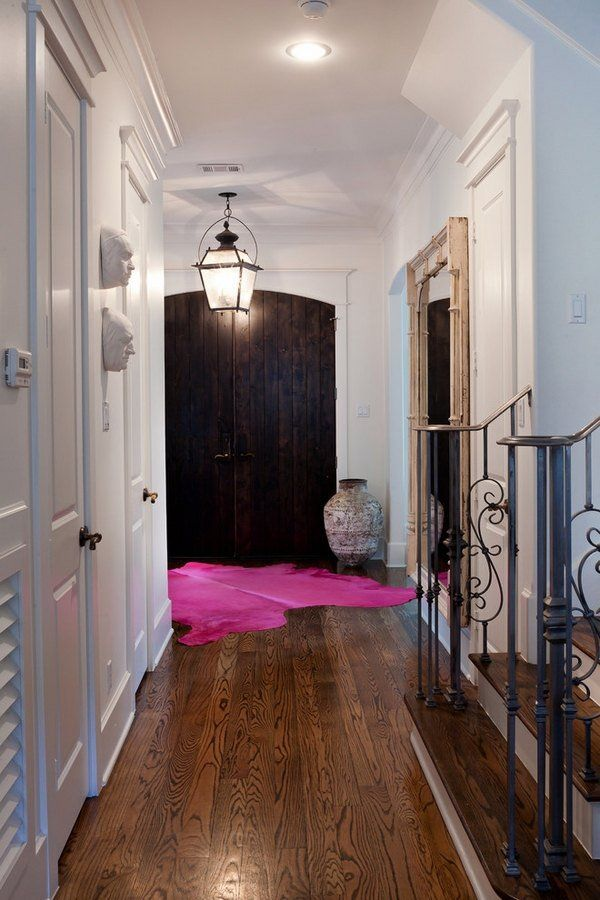 Home Entry Design Bright Pink Cowhide Rug Interior Color Accent