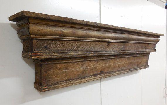 Large Mantel Shelf,Two Tiered Mantle Shelf, Natural Mantel, Fireplace Mantel,French Country Mantel Shelf,Primitive Mantle