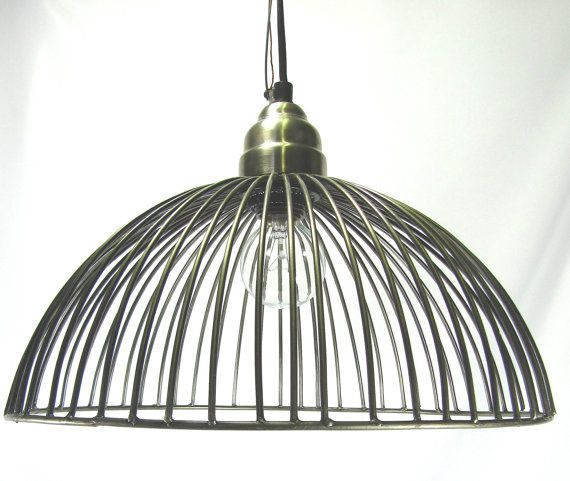 hanging pendant light chandelier pewter wire cage design 75 00
