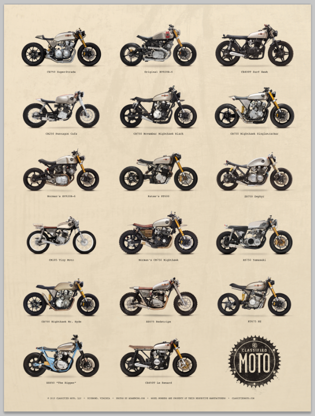Classified Moto — Classified Lineup Poster | Cars \'n bikes ...