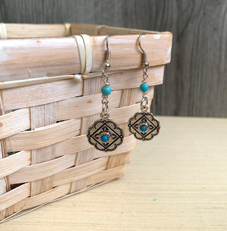 Silver Concho Dangle Earrings Western Jewelry Cowgirl
