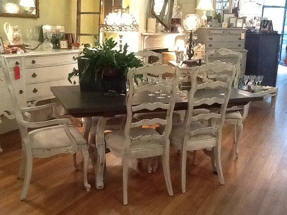 Stunning French Country Cottage Painted Dining Set By TessHome, $1895.00