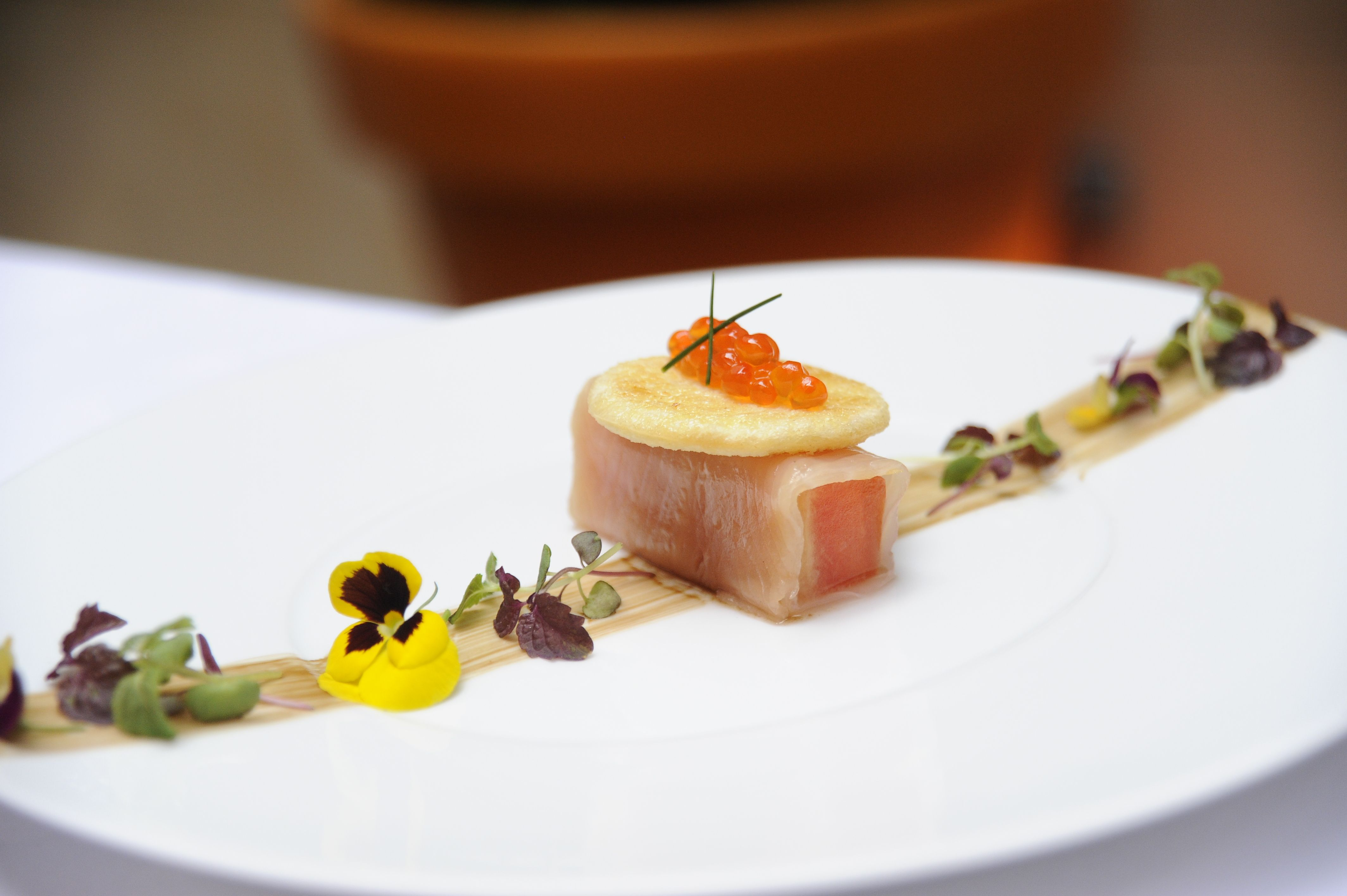 Smoked Salmon From La Pointe Du Raz Watermelon Balsamic Cream - Luxury food presentation template ideas