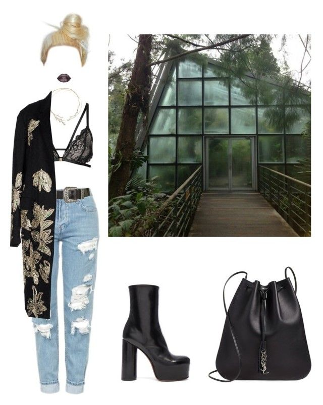 """butterfly"" by sarahloup ❤ liked on Polyvore featuring Topshop, Vetements, Ippolita, Dries Van Noten, Lime Crime and Yves Saint Laurent"