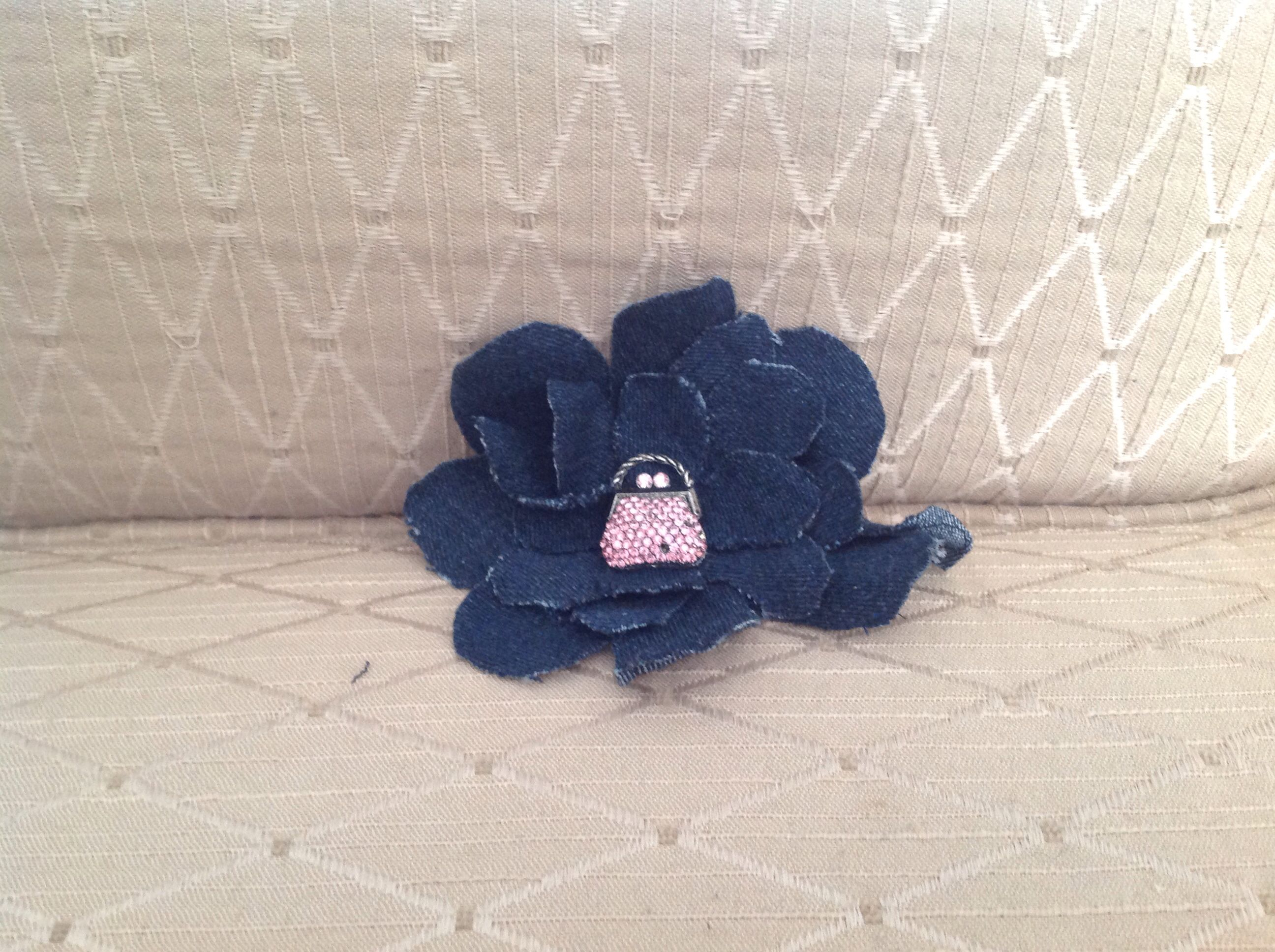 Jean corsage pin from old jeans