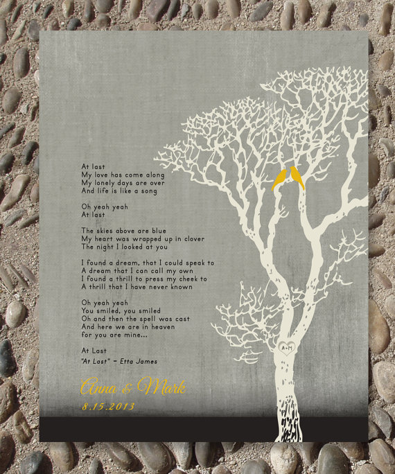 Personalized Wedding Gift Custom First Dance Song Lyrics Family Tree With Love Birds And