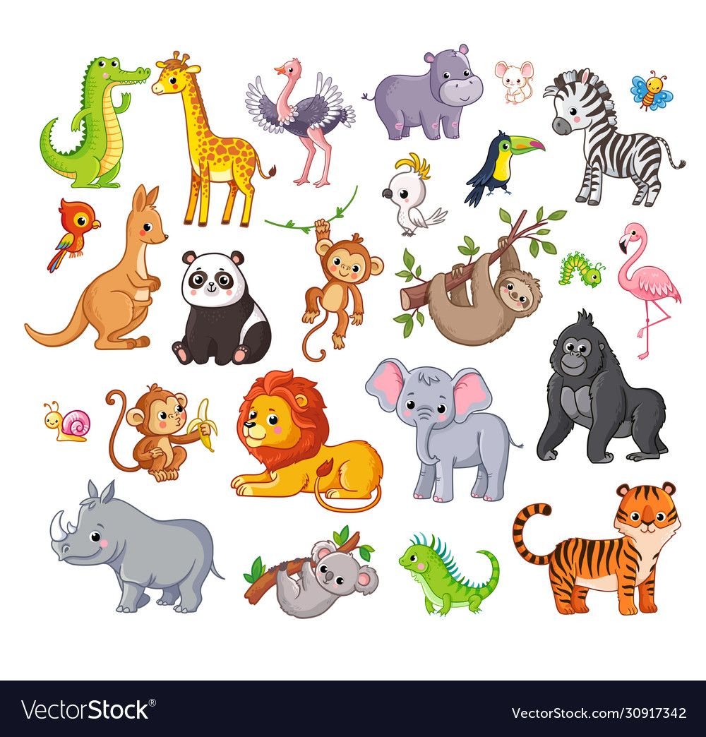 Big Vector Set With Animals In Cartoon Style Vector Collection With Mammals On A Childrens Theme Downl Animal Clipart Free Cartoon Styles Wild Animals Vector