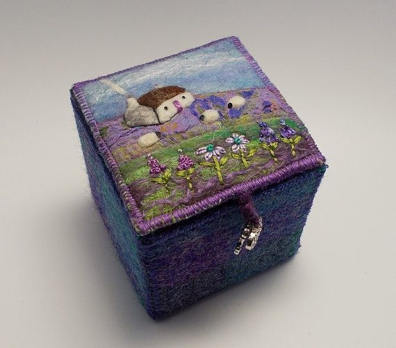 Harris Tweed and Felt Textile Trinket Box £35 by AileenClarkeCrafts