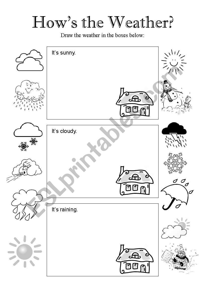 students draw pictures of the different weather conditions on page one they draw it s sunny. Black Bedroom Furniture Sets. Home Design Ideas