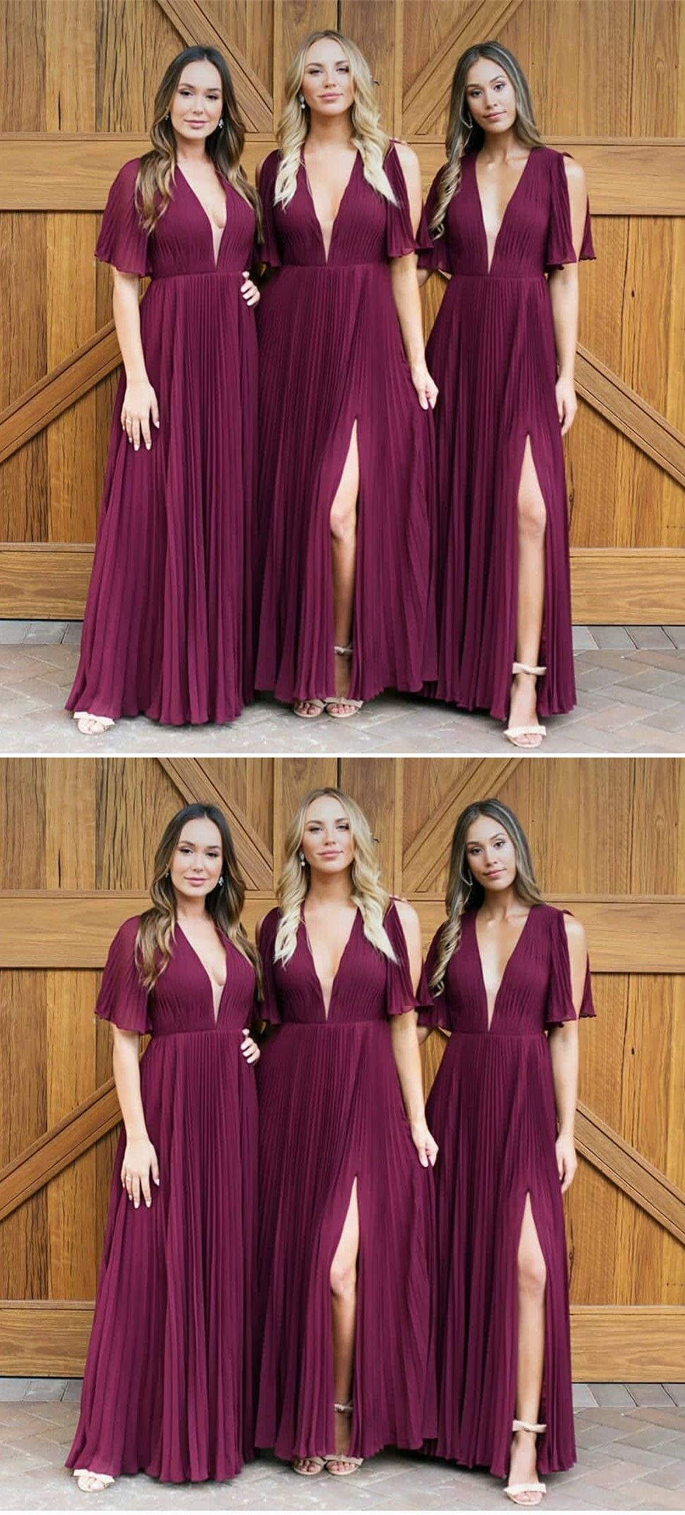 Aline vneck pleats dark red chiffon bridesmaid dress with split in