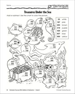 Treasures Under The Sea Adding And Subtracting With 3 Digit Numbers With Regrouping Printabl Fun Math Worksheets Color Worksheets Addition And Subtraction