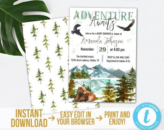 Adventure Baby Shower Invitation Kit Printable Adventure Awaits Baby Shower Set Ed Adventure Baby Shower Adventure Awaits Baby Shower Baby Shower Invitations