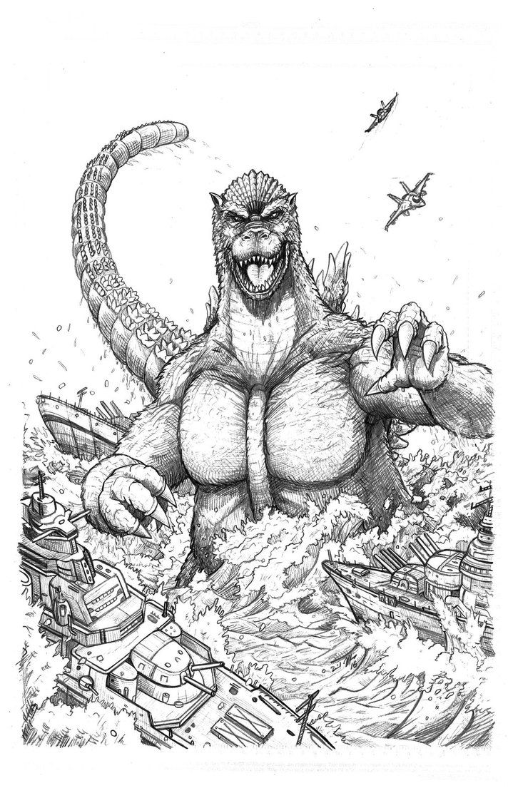 Pencils for a godzilla commission im working on now colors