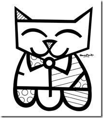 the romero britto coloring pages called britto cat to coloring romero britto can do an artwork from anything but they are also ideal for printing on paper