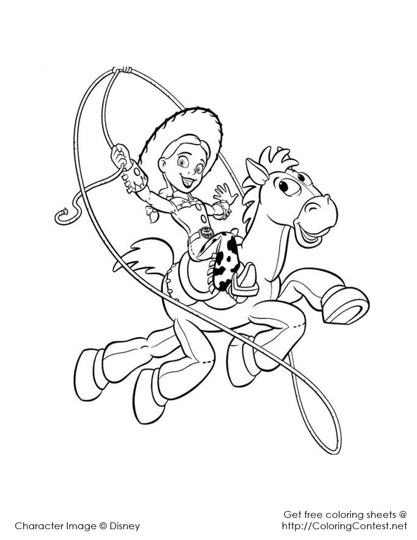 Jessie Lasso | Toy story coloring pages, Disney coloring ...