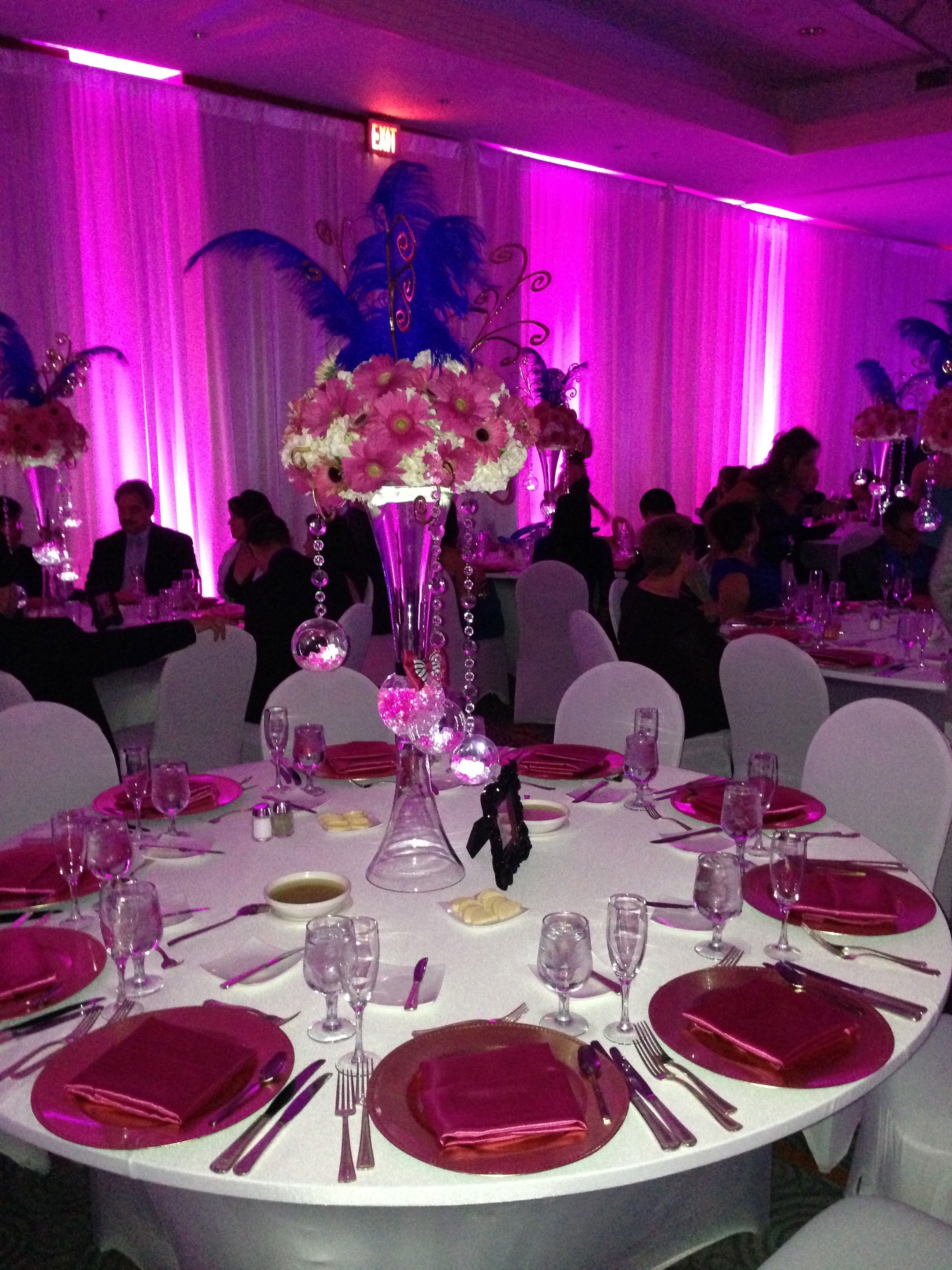 quinceanera centerpiece flowers and lights rental decor by rh pinterest com