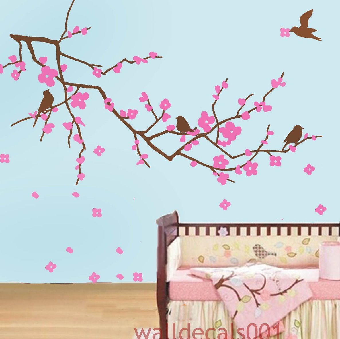 Wallpaper wall appliques cherry tree with decorating wall with wallpaper wall appliques cherry tree with decorating wall with blue wall and laminate flooring ideas amipublicfo Image collections