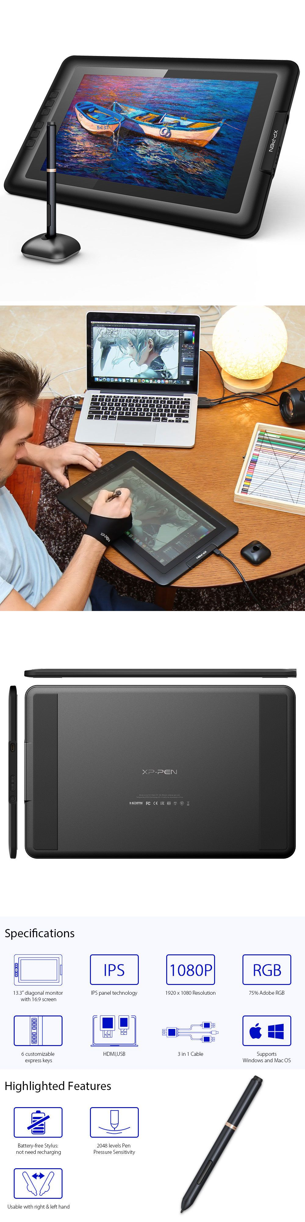Graphics tablets boards and pens 3680 xppen artist133