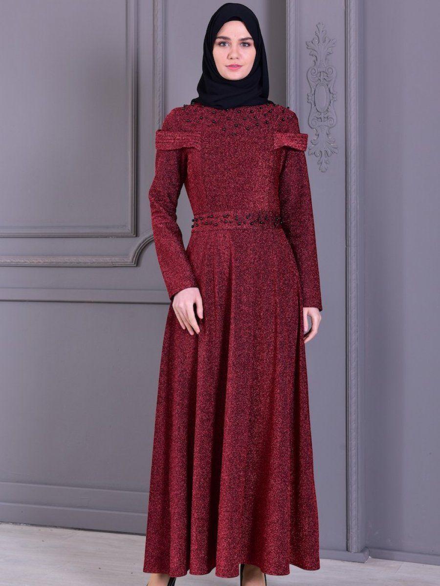 Sefamerve Tesettur Bordo Renk Abiye Elbise Modelleri Moda Tesettur Giyim Elbise Modelleri Elbise Giyim