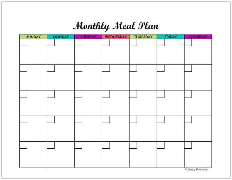 Free Monthly Meal Planner Printable Calendar Template For Menu