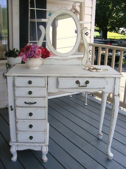 Cottage white chic shabby provincial french vanity decoracion muebles muebles estilo - Muebles shabby ...