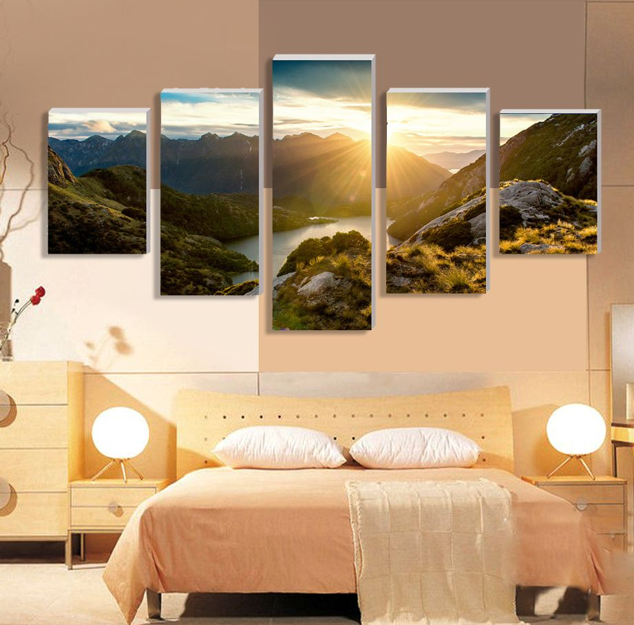2016 New 5 Piece Hot Sell Sunrise Modern Home Wall Decor Canvas ...