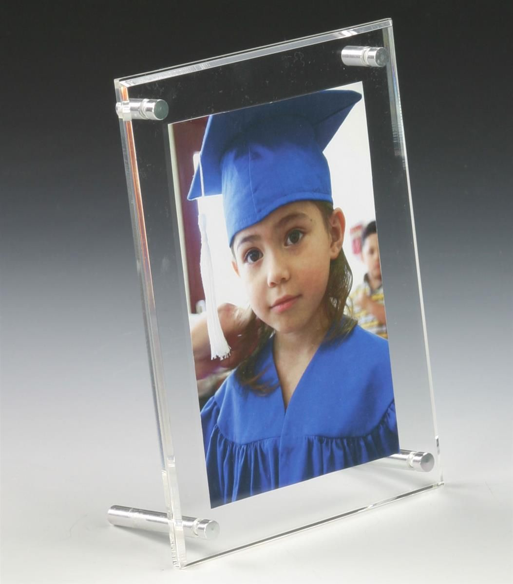 4 X 6 Acrylic Sign Holder With Standoff Hardware Slant Back Clear Acrylic Sign Double Sided Picture Frame Acrylic Picture Frames