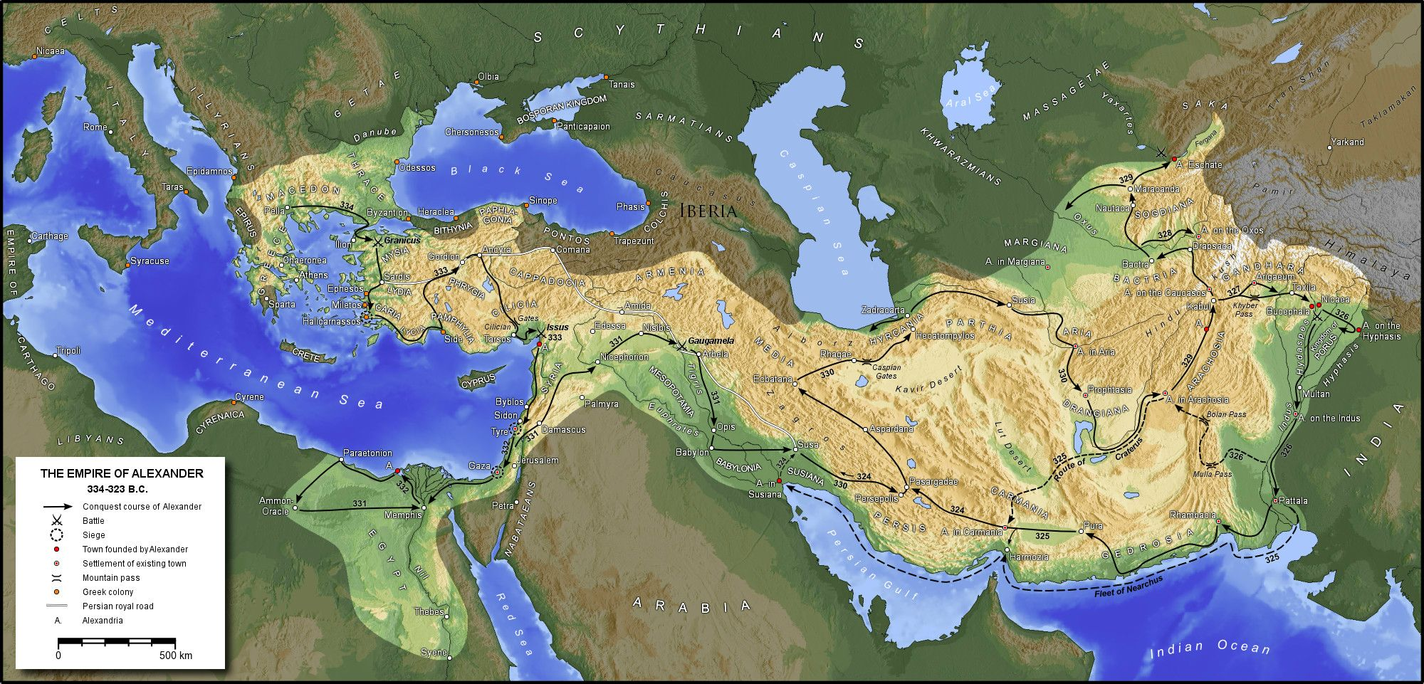 Alexander the Great conquest map MacedonEmpirejpg JPEG