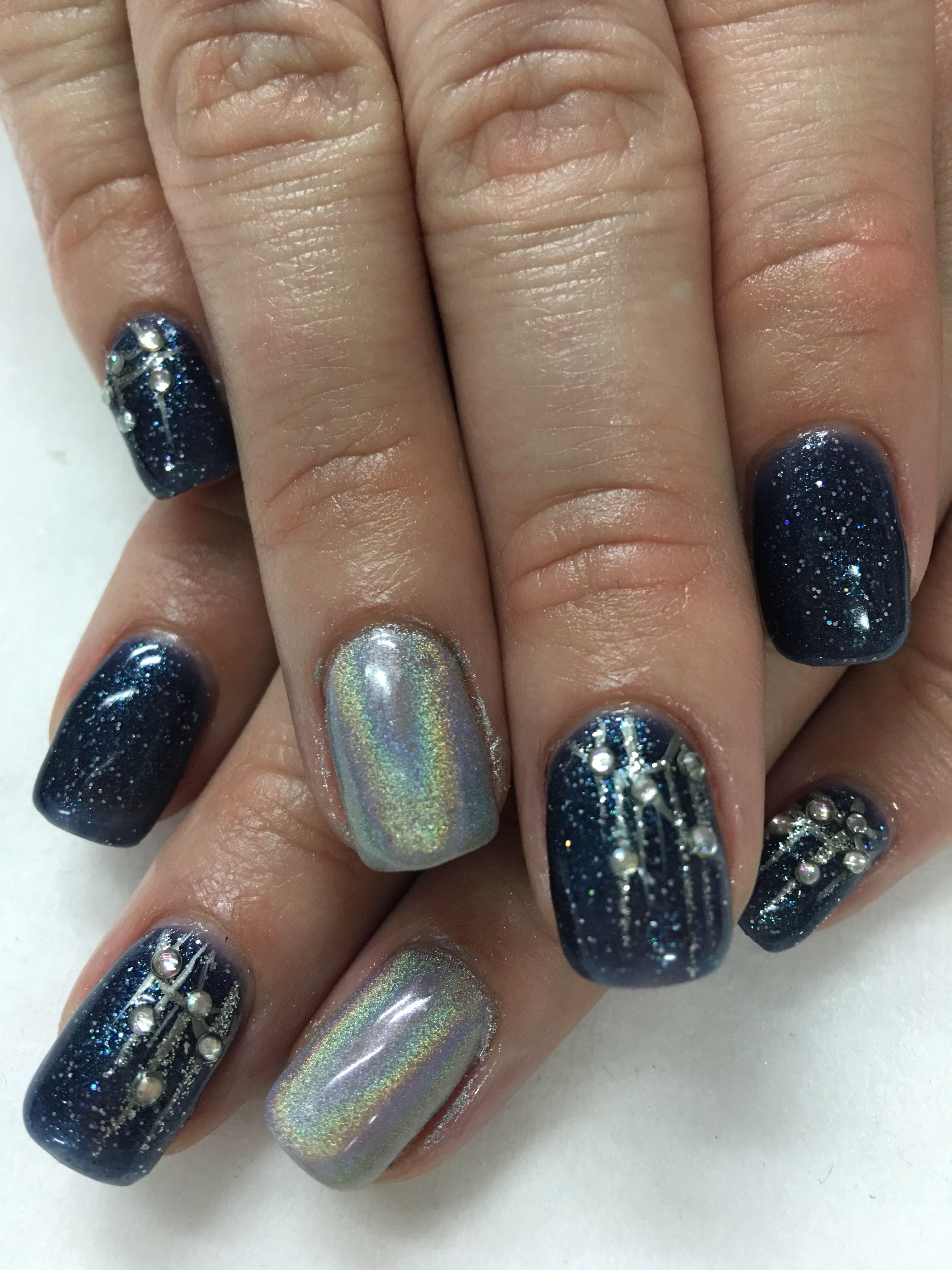 Midnight blue glitter hologram hand painted iridescent rhinestones