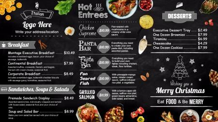 Chalk menu board | Digital Signage Template | MENU BOARDS ...
