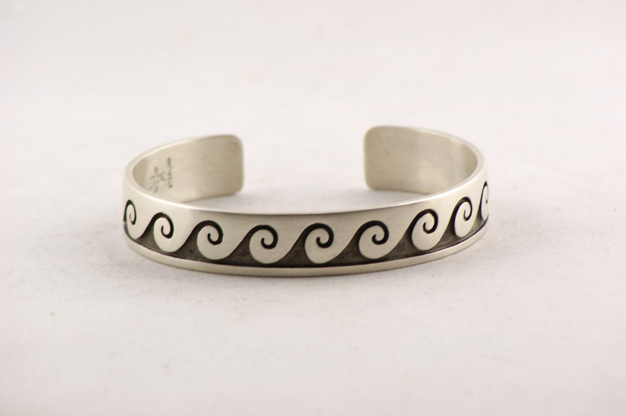 Hopi sterling silver waterwave design bracelet large sizes