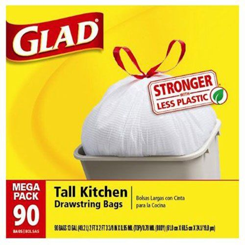 Glad Tall Kitchen Drawstring Trash Bags 13 Gallon 90 Count