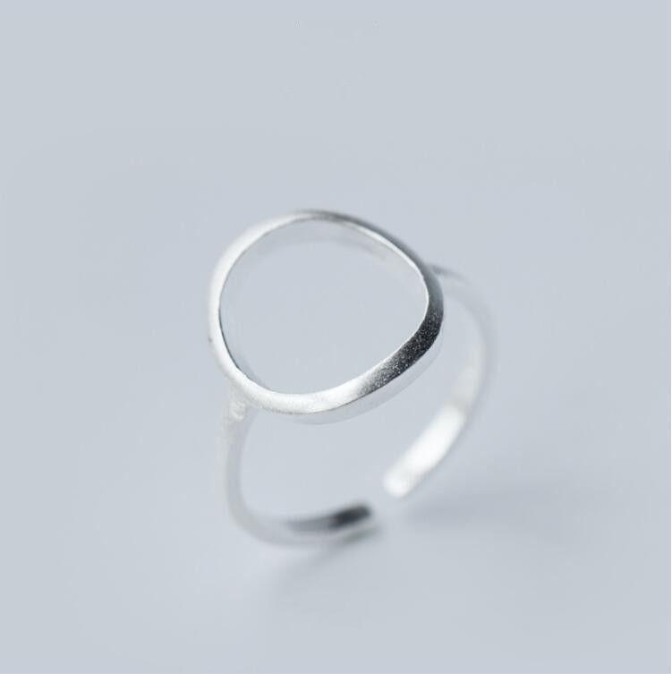 Zilveren Open Ronde Ringen voor Vrouwen Eenvoudige Geometrische Cirkel Vinger Ring SYJZ003