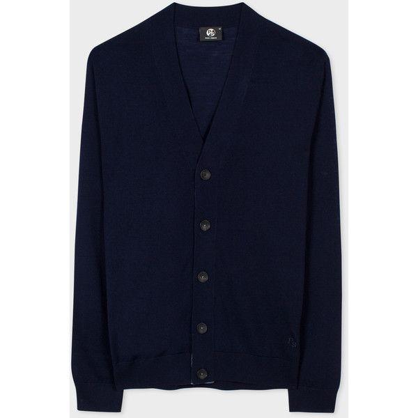 Paul Smith Men's Navy Merino-Wool Cardigan ($200) ❤ liked on ...